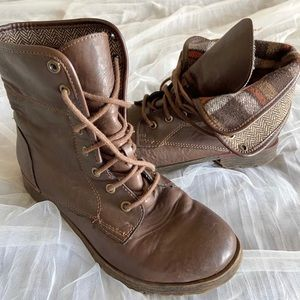Brown Flannel Combat Boots